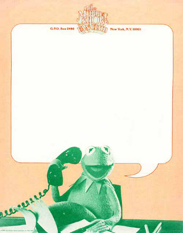 Muppet Show Fan Club 1981 Letterhead