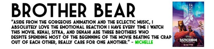 Brother Bear, part of Endearing & Underrated film series at This Happy Place Blog