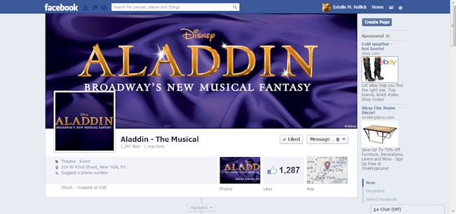 Aladdin the Musical Facebook Page