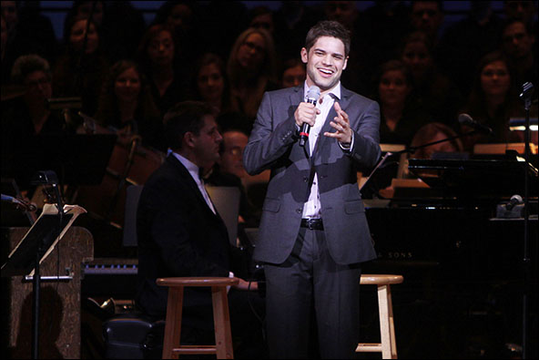 Jeremy Jordan performing at The New York Pops Concert THE WIZARD AND I: The Musical Journey of Stephen Schwartz held at Carnegie Hall. New York City, USA-12.04.13