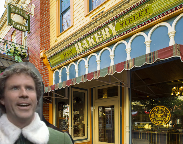 Buddy the Elf at Main St Bakery for Christmas in July
