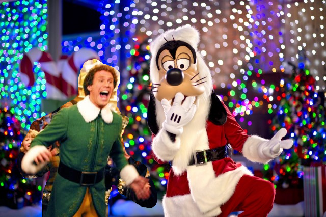 Goofy as Santa with Buddy the Elf for Christmas in July