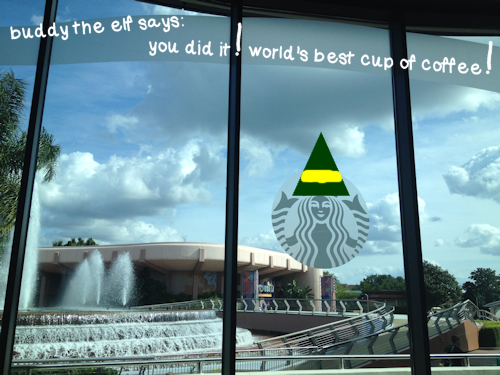 Buddy the Elf Says Yes to Starbucks in Walt Disney World