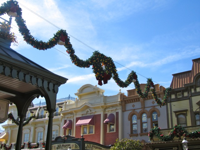 Main Street USA Disney World at Christmastime