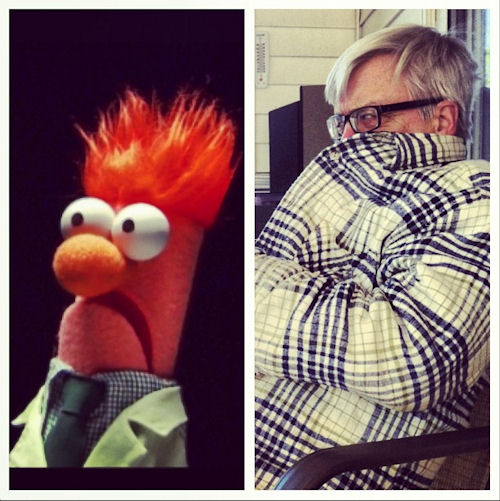 Dad as Beaker for Muppet Monday